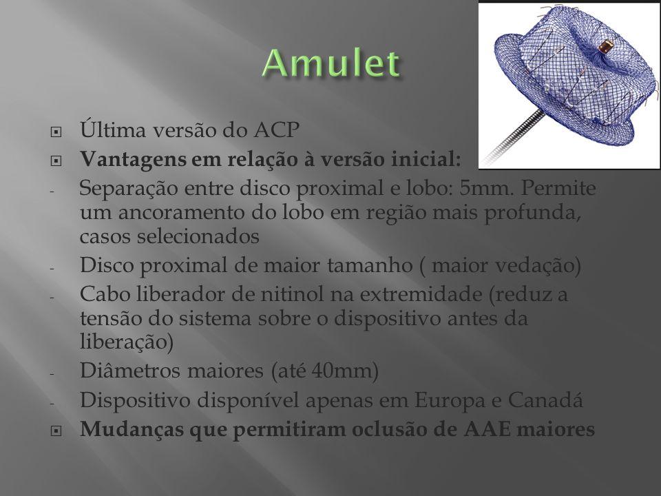 Última versão do ACP Vantagens em relação à versão inicial: - Separação entre disco proximal e lobo: 5mm. Permite um ancoramento do lobo em região mai