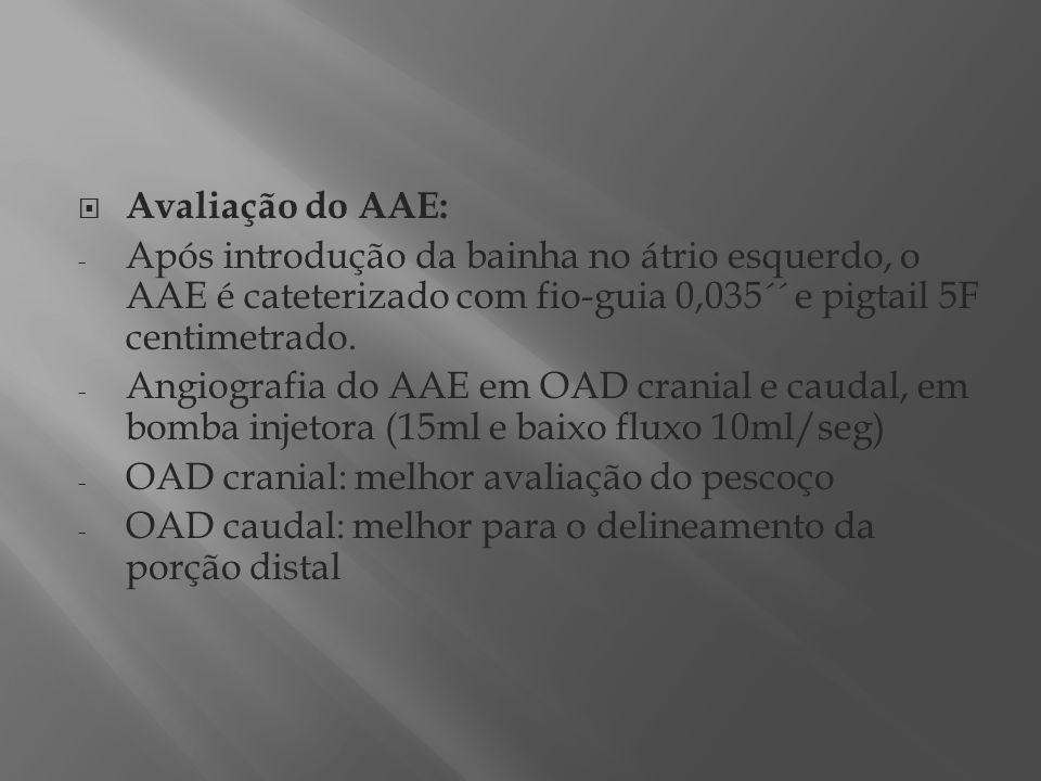 Avaliação do AAE: - Após introdução da bainha no átrio esquerdo, o AAE é cateterizado com fio-guia 0,035´´ e pigtail 5F centimetrado. - Angiografia do