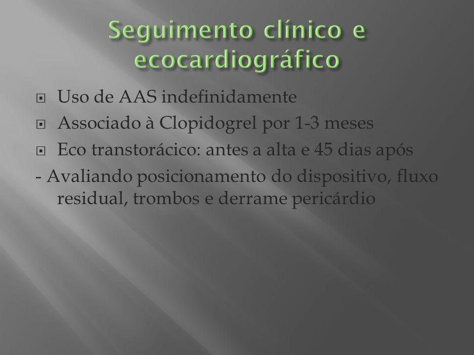 Uso de AAS indefinidamente Associado à Clopidogrel por 1-3 meses Eco transtorácico: antes a alta e 45 dias após - Avaliando posicionamento do disposit