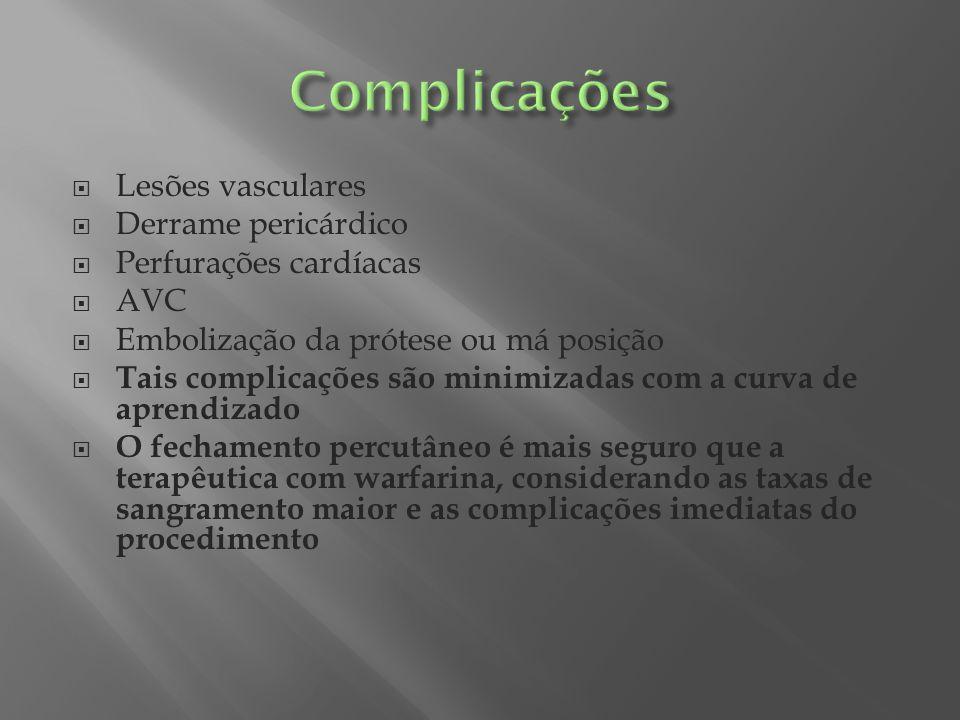 Lesões vasculares Derrame pericárdico Perfurações cardíacas AVC Embolização da prótese ou má posição Tais complicações são minimizadas com a curva de