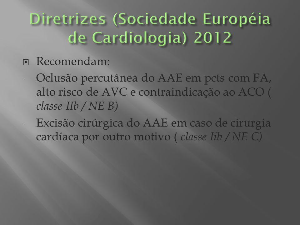 Recomendam: - Oclusão percutânea do AAE em pcts com FA, alto risco de AVC e contraindicação ao ACO ( classe IIb / NE B) - Excisão cirúrgica do AAE em