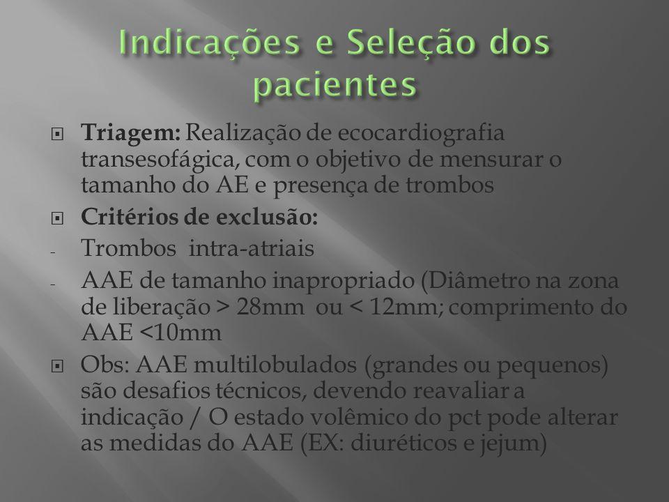 PLAATO ( Percutaneous left atrial appendage transcathter oclusion – PLAATO System) 2005 - Um dos 1° estudos que avaliou a eficácia da oclusão percutânea do AAE - Estudo multicêntrico, prospectivo e não controlado - Objetivo : avaliar a eficácia e a segurança do dispositivo em pcts com FA crônica + contraindicação ao uso de ACO e alto risco de fenômenos tromboembolicos (CHADS2 > 2) - Resultados: Houve redução do risco de AVC / A produção da prótese PLAATO foi descontinuada por motivos financeiros
