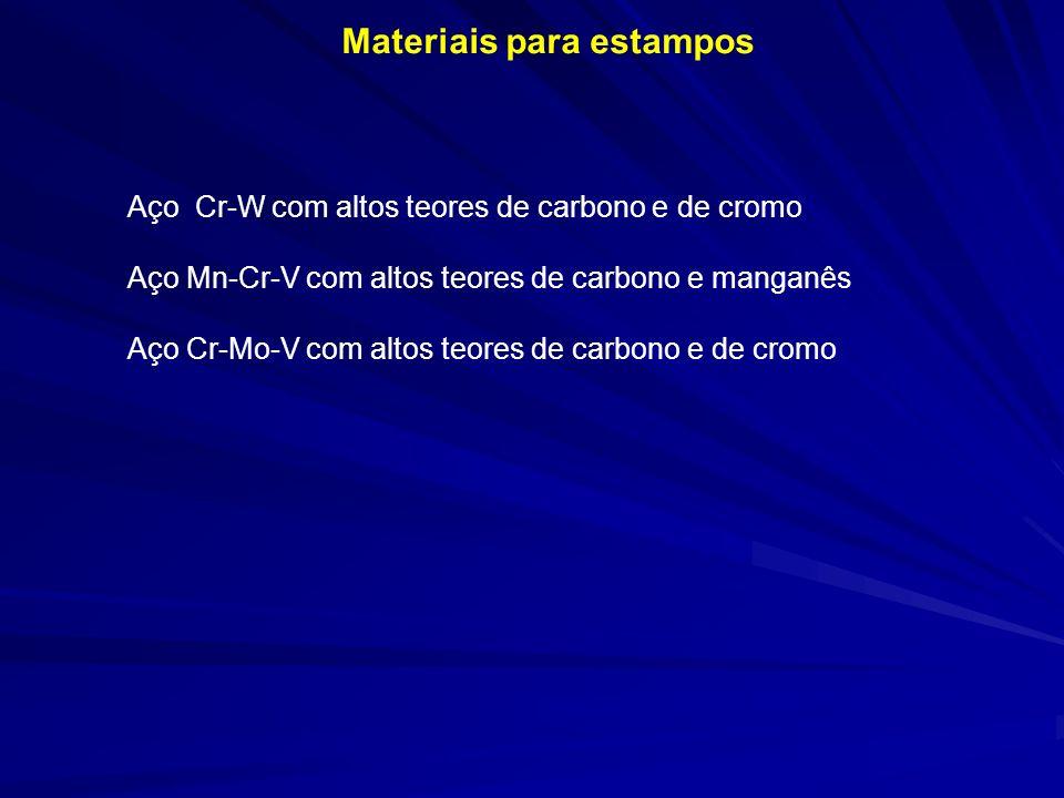 Materiais para estampos Aço Cr-W com altos teores de carbono e de cromo Aço Mn-Cr-V com altos teores de carbono e manganês Aço Cr-Mo-V com altos teore