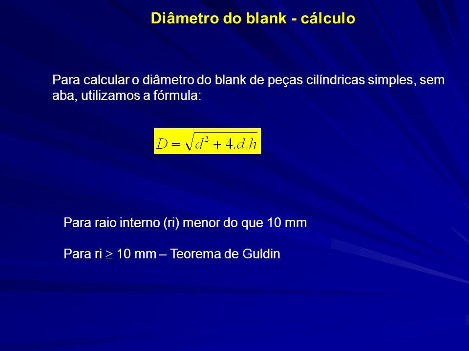 Diâmetro do blank - cálculo Para calcular o diâmetro do blank de peças cilíndricas simples, sem aba, utilizamos a fórmula: Para raio interno (ri) meno