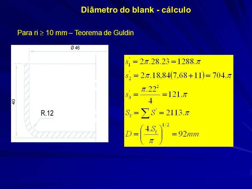 Diâmetro do blank - cálculo Para ri 10 mm – Teorema de Guldin
