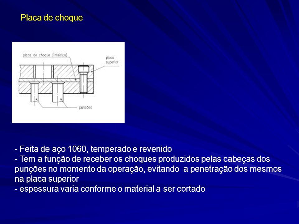 Placa de choque - Feita de aço 1060, temperado e revenido - Tem a função de receber os choques produzidos pelas cabeças dos punções no momento da oper