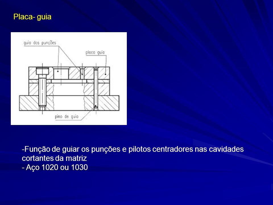 Placa- guia -Função de guiar os punções e pilotos centradores nas cavidades cortantes da matriz - Aço 1020 ou 1030