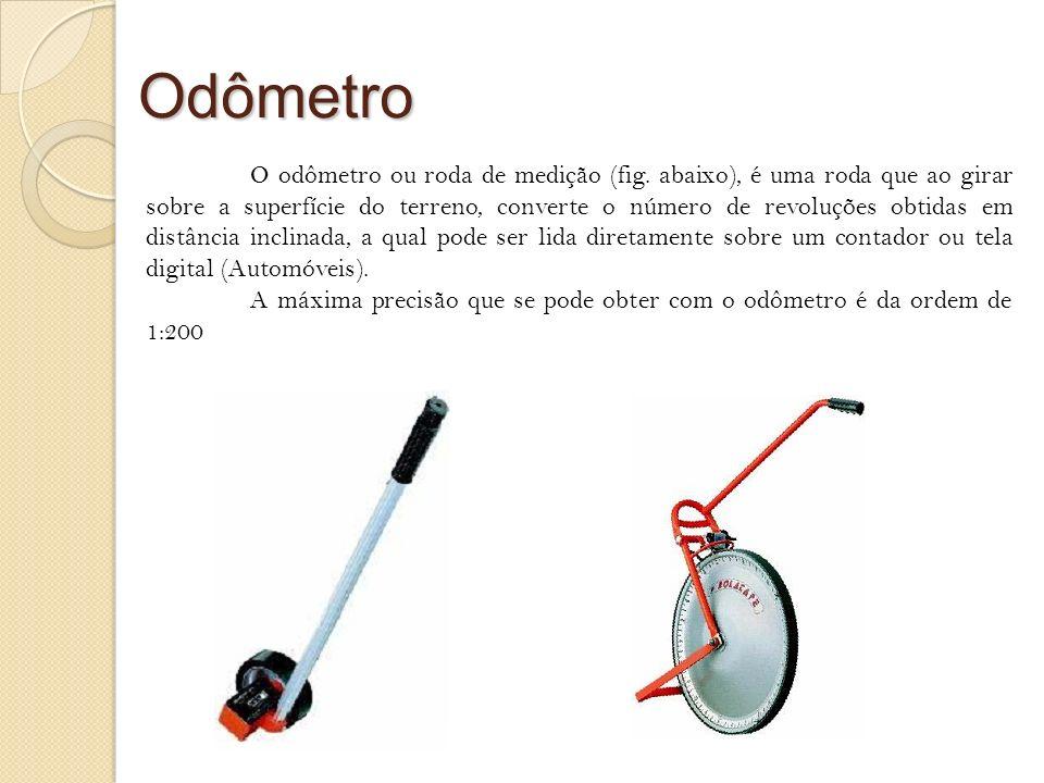 Odômetro O odômetro ou roda de medição (fig. abaixo), é uma roda que ao girar sobre a superfície do terreno, converte o número de revoluções obtidas e