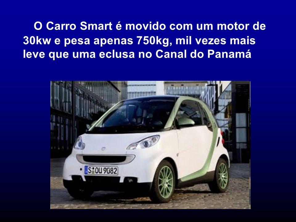 O Carro Smart é movido com um motor de 30kw e pesa apenas 750kg, mil vezes mais leve que uma eclusa no Canal do Panamá