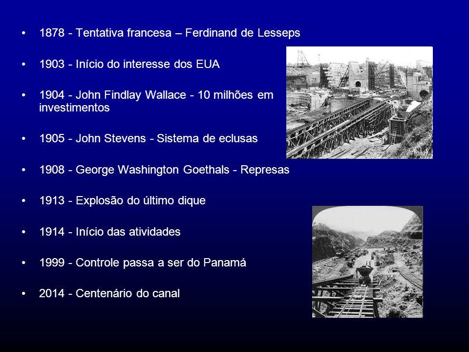 1878 - Tentativa francesa – Ferdinand de Lesseps 1903 - Início do interesse dos EUA 1904 - John Findlay Wallace - 10 milhões em investimentos 1905 - J
