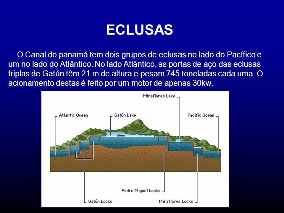 ECLUSAS O Canal do panamá tem dois grupos de eclusas no lado do Pacífico e um no lado do Atlântico. No lado Atlântico, as portas de aço das eclusas tr