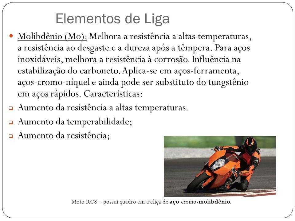 Elementos de Liga Molibdênio (Mo): Melhora a resistência a altas temperaturas, a resistência ao desgaste e a dureza após a têmpera.