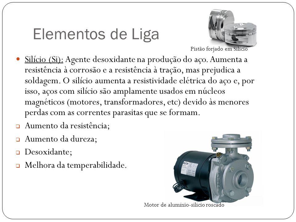 Elementos de Liga Silício (Si): Agente desoxidante na produção do aço.
