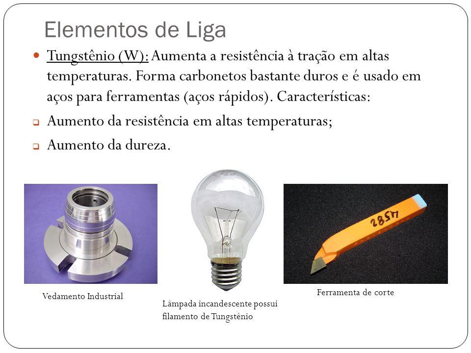 Elementos de Liga Tungstênio (W): Aumenta a resistência à tração em altas temperaturas.