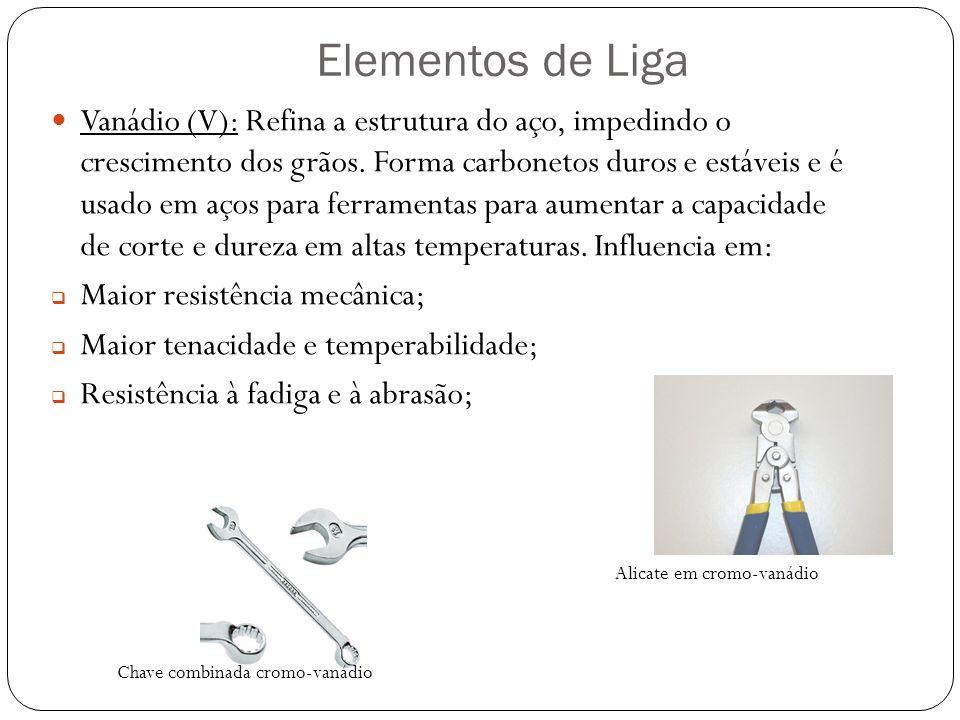 Elementos de Liga Vanádio (V): Refina a estrutura do aço, impedindo o crescimento dos grãos.