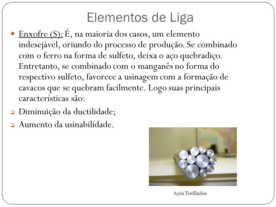 Elementos de Liga Enxofre (S): É, na maioria dos casos, um elemento indesejável, oriundo do processo de produção.