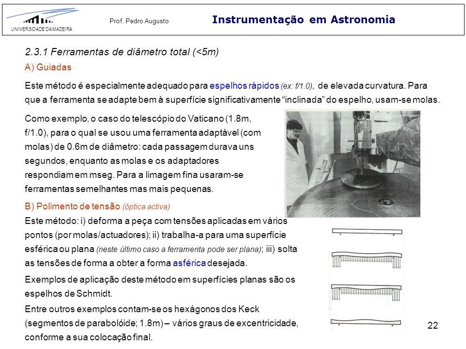 22 Instrumentação em Astronomia UNIVERSIDADE DA MADEIRA Prof. Pedro Augusto 2.3.1 Ferramentas de diâmetro total (<5m) A) Guiadas Este método é especia