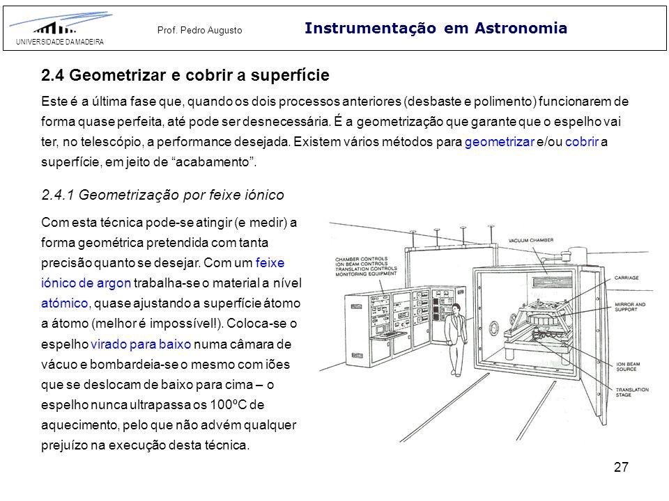 27 Instrumentação em Astronomia UNIVERSIDADE DA MADEIRA Prof. Pedro Augusto 2.4 Geometrizar e cobrir a superfície Este é a última fase que, quando os