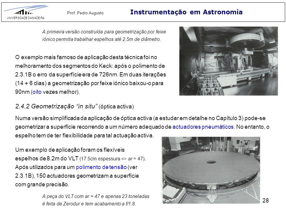 28 Instrumentação em Astronomia UNIVERSIDADE DA MADEIRA Prof. Pedro Augusto A primeira versão construída para geometrização por feixe iónico permitia