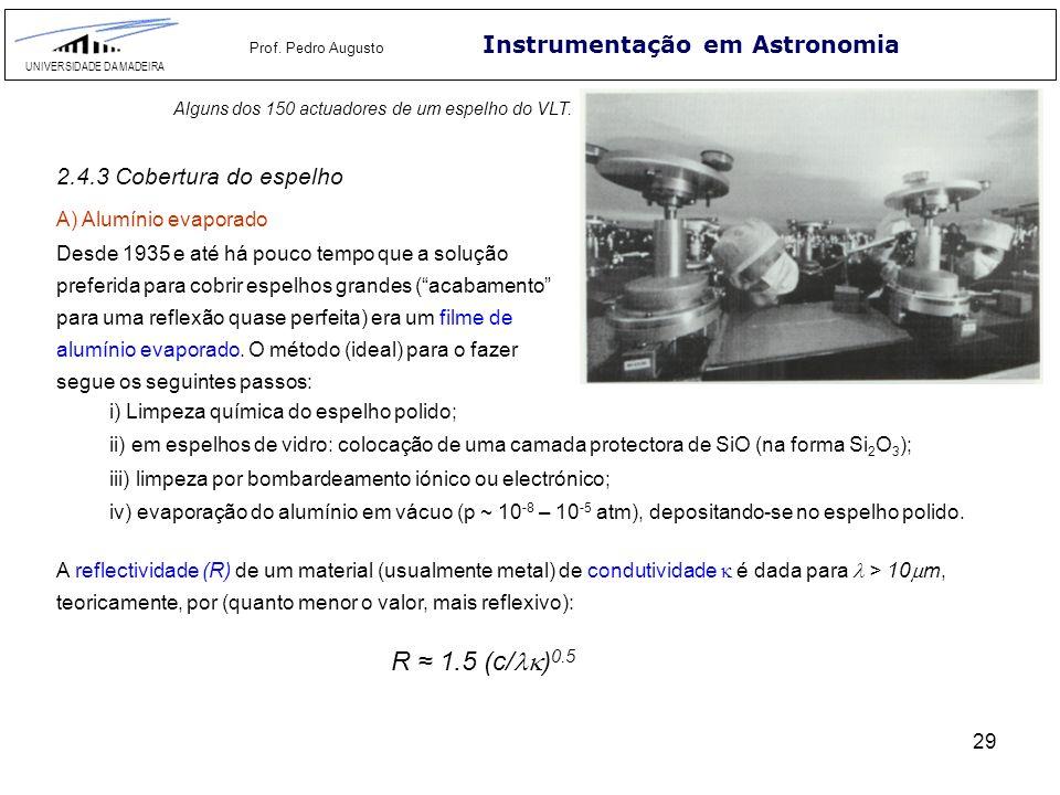 29 Instrumentação em Astronomia UNIVERSIDADE DA MADEIRA Prof. Pedro Augusto Alguns dos 150 actuadores de um espelho do VLT. 2.4.3 Cobertura do espelho
