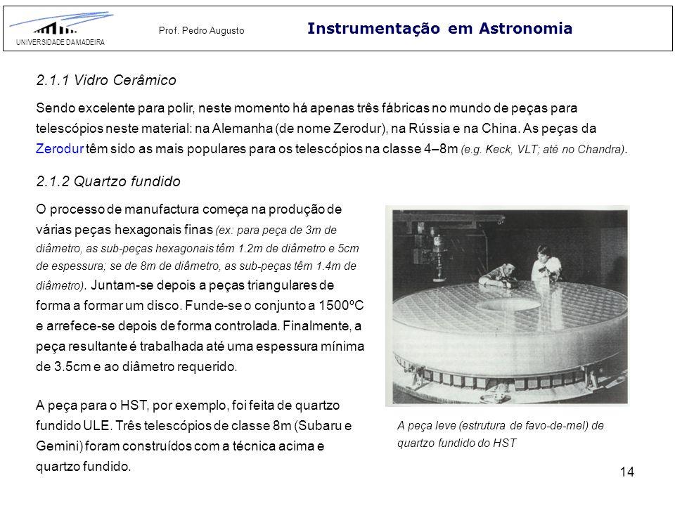 14 Instrumentação em Astronomia UNIVERSIDADE DA MADEIRA Prof. Pedro Augusto 2.1.1 Vidro Cerâmico Sendo excelente para polir, neste momento há apenas t