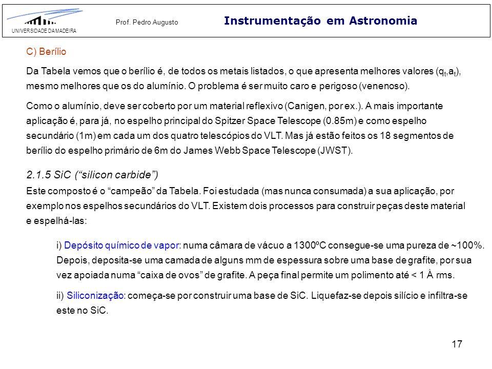 17 Instrumentação em Astronomia UNIVERSIDADE DA MADEIRA Prof. Pedro Augusto Da Tabela vemos que o berílio é, de todos os metais listados, o que aprese