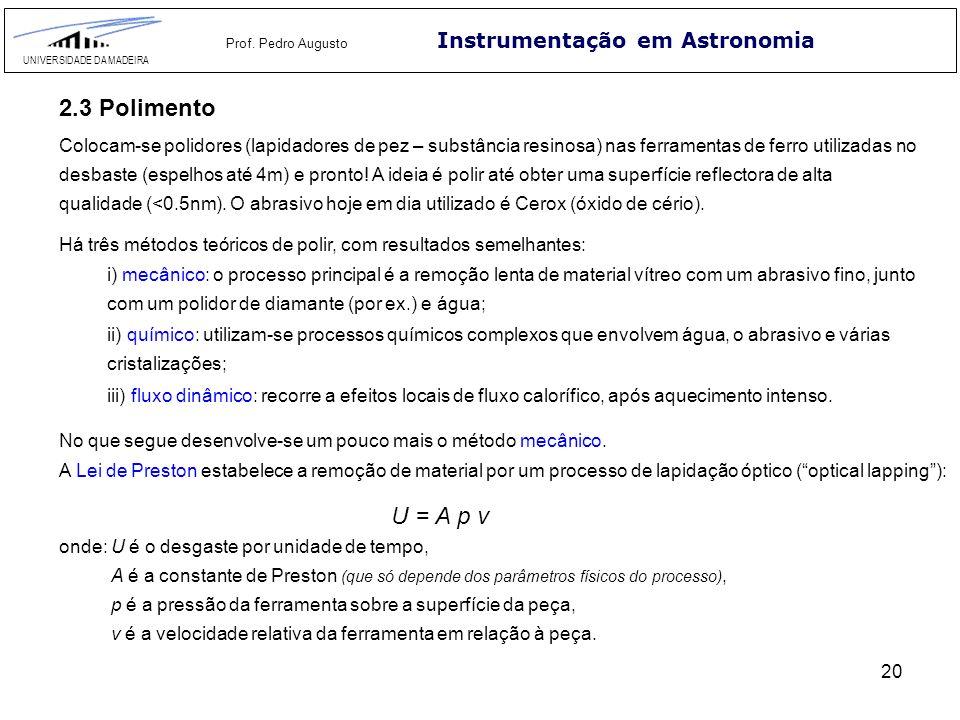 20 Instrumentação em Astronomia UNIVERSIDADE DA MADEIRA Prof. Pedro Augusto 2.3 Polimento Colocam-se polidores (lapidadores de pez – substância resino