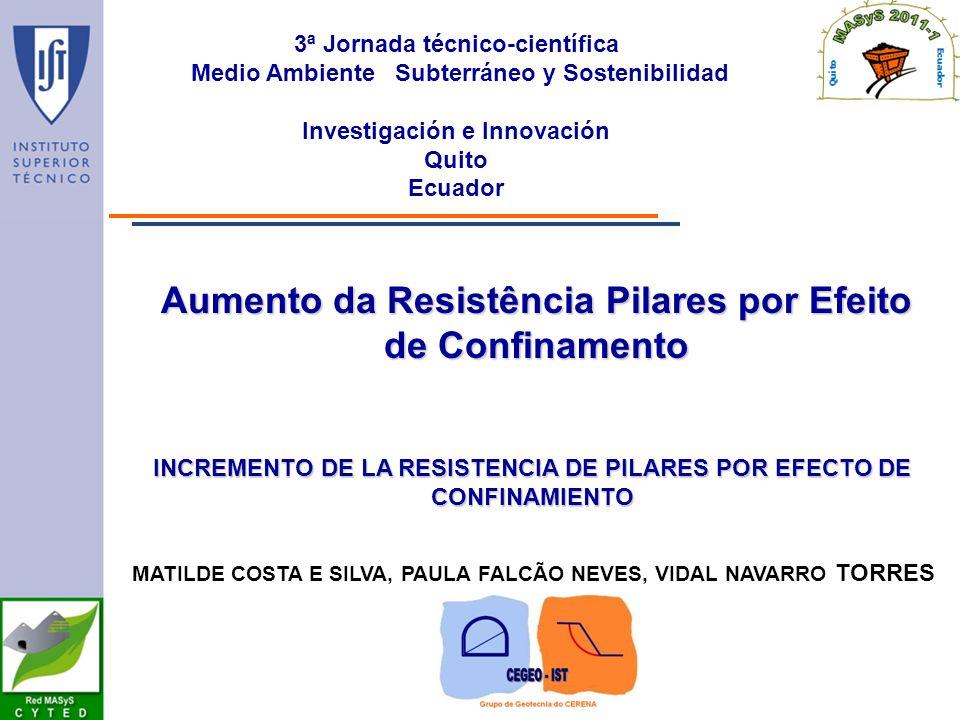 3ª Jornada técnico-científica Medio Ambiente Subterráneo y Sostenibilidad Investigación e Innovación Quito Ecuador MATILDE COSTA E SILVA, PAULA FALCÃO NEVES, VIDAL NAVARRO TORRES INCREMENTO DE LA RESISTENCIA DE PILARES POR EFECTO DE CONFINAMIENTO Aumento da Resistência Pilares por Efeito de Confinamento