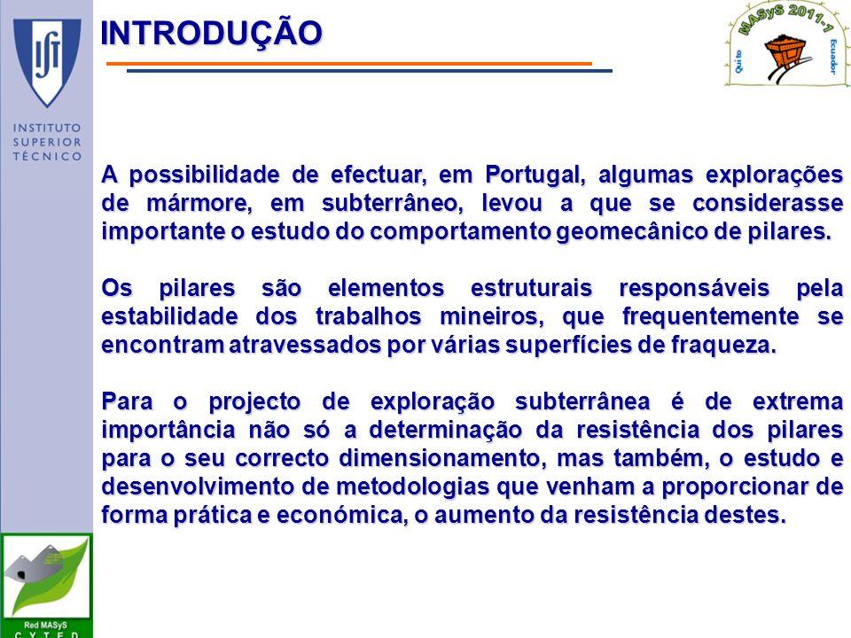 INTRODUÇÃO A possibilidade de efectuar, em Portugal, algumas explorações de mármore, em subterrâneo, levou a que se considerasse importante o estudo do comportamento geomecânico de pilares.