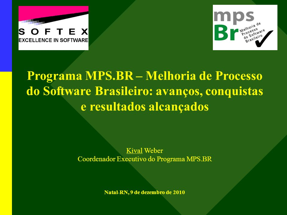 Programa MPS.BR – Melhoria de Processo do Software Brasileiro: avanços, conquistas e resultados alcançados Kival Weber Coordenador Executivo do Programa MPS.BR Natal-RN, 9 de dezembro de 2010