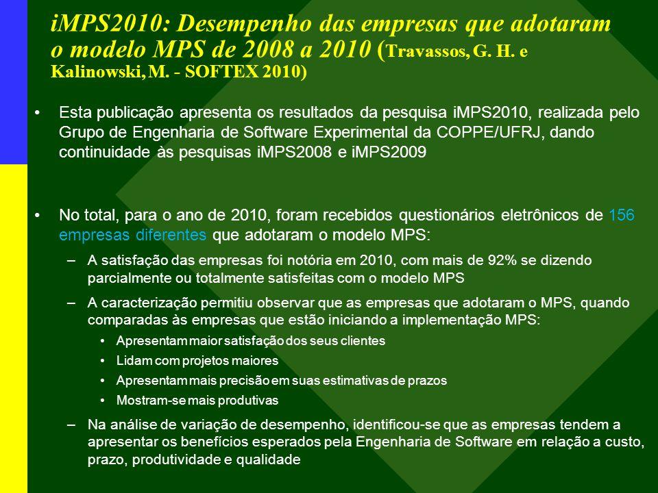 iMPS2010: Desempenho das empresas que adotaram o modelo MPS de 2008 a 2010 ( Travassos, G. H. e Kalinowski, M. - SOFTEX 2010) Esta publicação apresent
