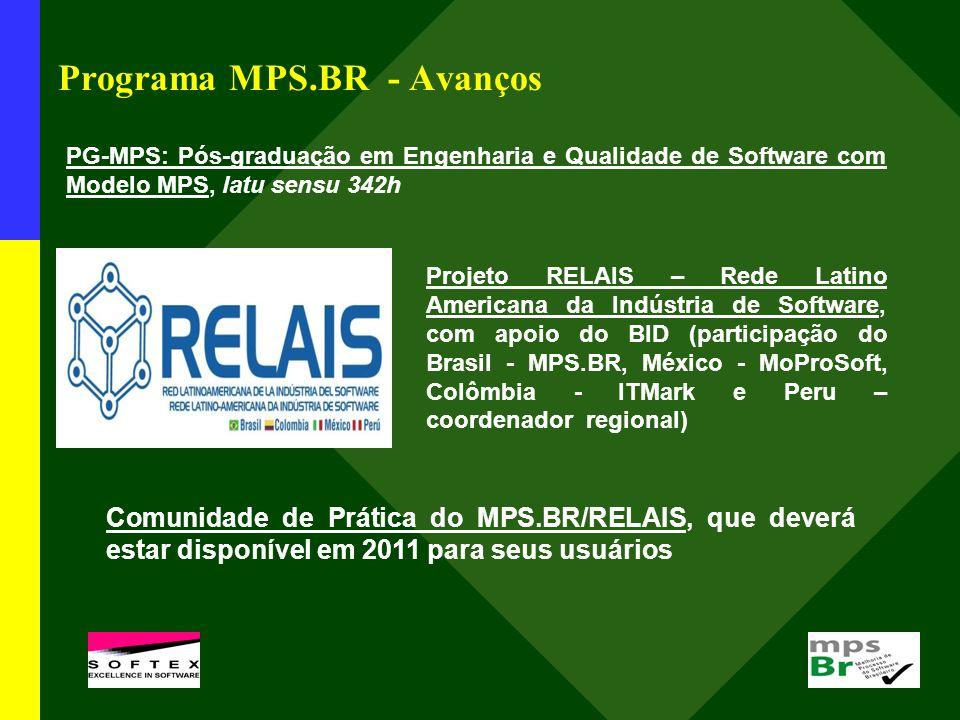 Programa MPS.BR - Avanços PG-MPS: Pós-graduação em Engenharia e Qualidade de Software com Modelo MPS, latu sensu 342h Projeto RELAIS – Rede Latino Americana da Indústria de Software, com apoio do BID (participação do Brasil - MPS.BR, México - MoProSoft, Colômbia - ITMark e Peru – coordenador regional) Comunidade de Prática do MPS.BR/RELAIS, que deverá estar disponível em 2011 para seus usuários