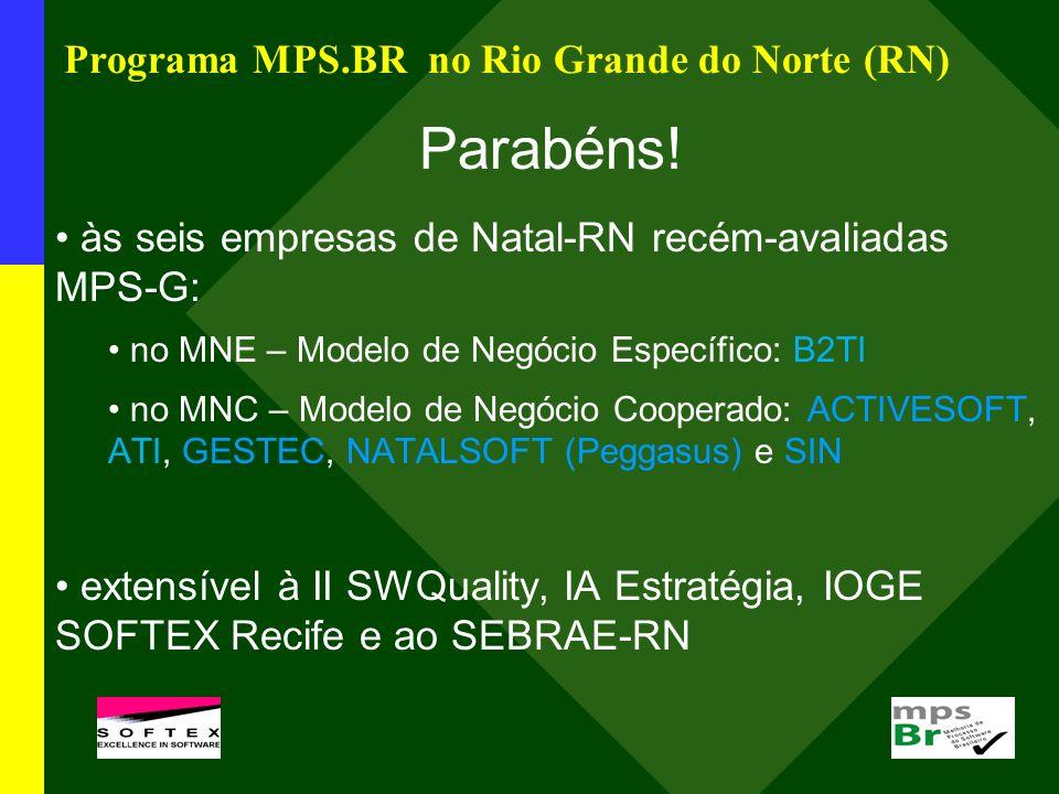 Programa MPS.BR no Rio Grande do Norte (RN) Parabéns! às seis empresas de Natal-RN recém-avaliadas MPS-G: no MNE – Modelo de Negócio Específico: B2TI
