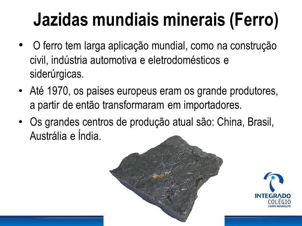 Jazidas mundiais minerais (Ferro) O ferro tem larga aplicação mundial, como na construção civil, indústria automotiva e eletrodomésticos e siderúrgica