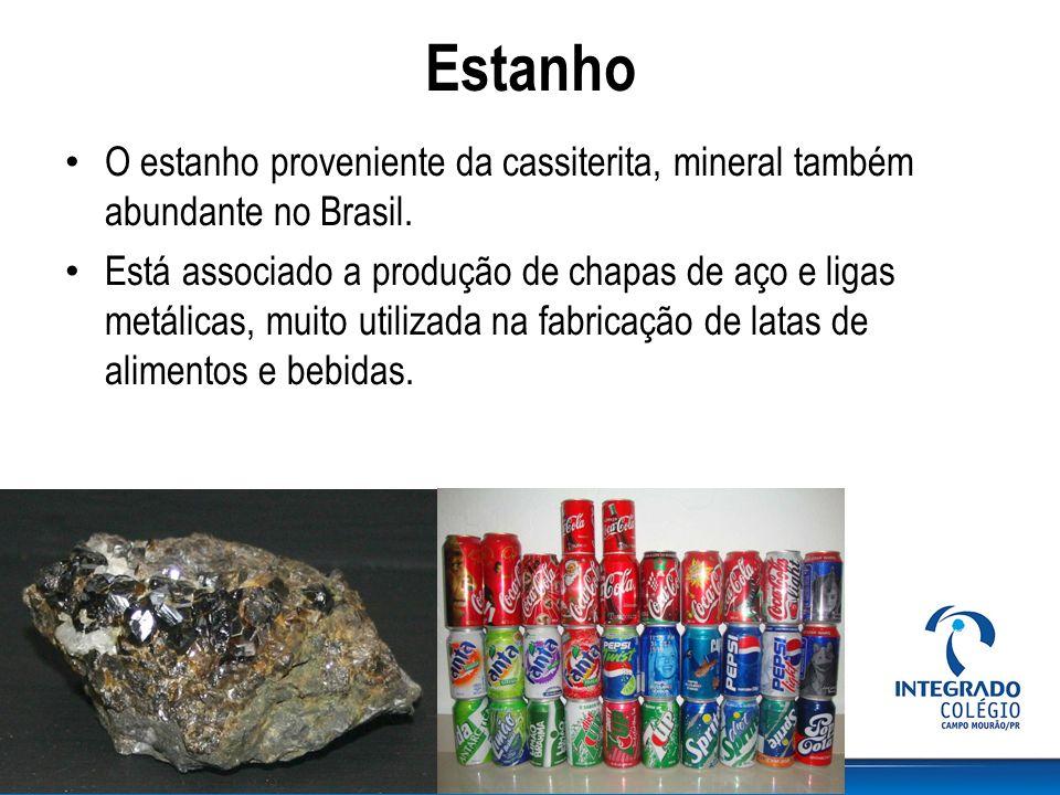 Estanho O estanho proveniente da cassiterita, mineral também abundante no Brasil. Está associado a produção de chapas de aço e ligas metálicas, muito
