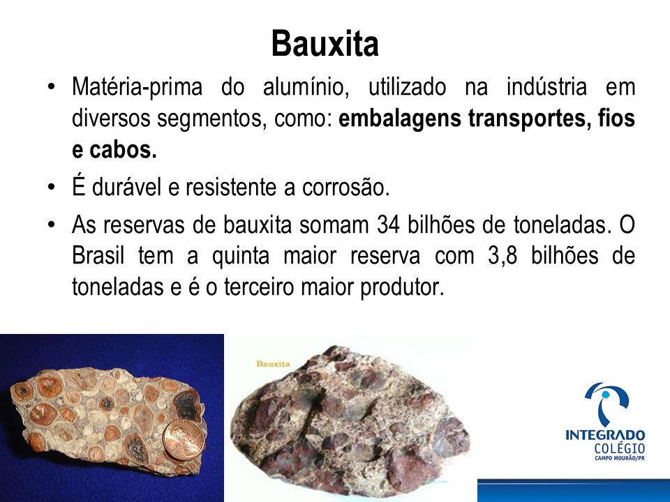 Bauxita Matéria-prima do alumínio, utilizado na indústria em diversos segmentos, como: embalagens transportes, fios e cabos. É durável e resistente a