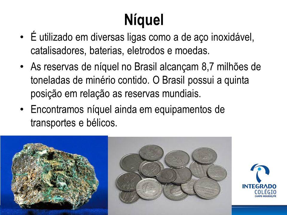 Níquel É utilizado em diversas ligas como a de aço inoxidável, catalisadores, baterias, eletrodos e moedas. As reservas de níquel no Brasil alcançam 8