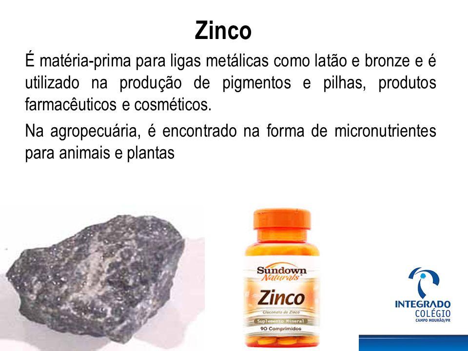 Zinco É matéria-prima para ligas metálicas como latão e bronze e é utilizado na produção de pigmentos e pilhas, produtos farmacêuticos e cosméticos. N