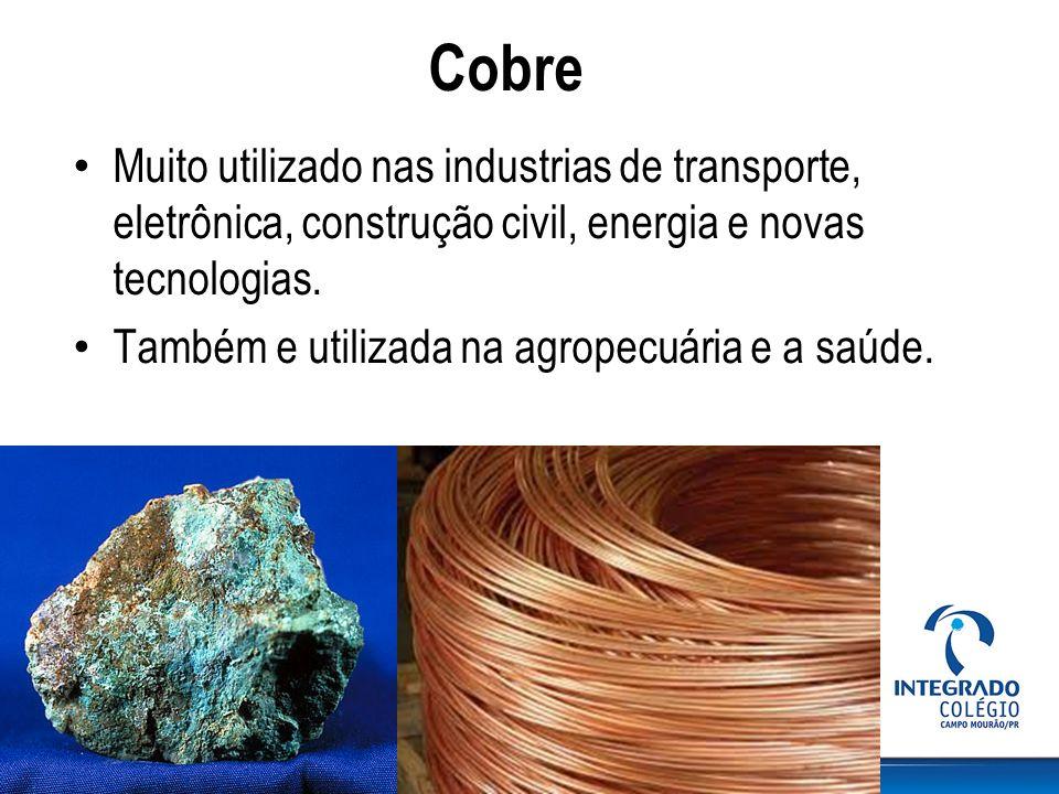 Cobre Muito utilizado nas industrias de transporte, eletrônica, construção civil, energia e novas tecnologias. Também e utilizada na agropecuária e a