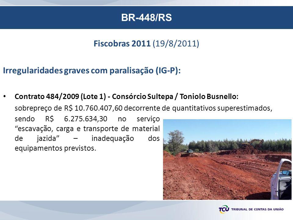 BR-448/RS Fiscobras 2011 (19/8/2011) Irregularidades graves com paralisação (IG-P): Contrato 484/2009 (Lote 1) - Consórcio Sultepa / Toniolo Busnello: sobrepreço de R$ 10.760.407,60 decorrente de quantitativos superestimados, sendo R$ 6.275.634,30 no serviço escavação, carga e transporte de material de jazida – inadequação dos equipamentos previstos.