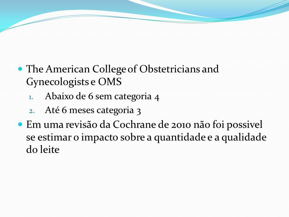 The American College of Obstetricians and Gynecologists e OMS 1. Abaixo de 6 sem categoria 4 2. Até 6 meses categoria 3 Em uma revisão da Cochrane de