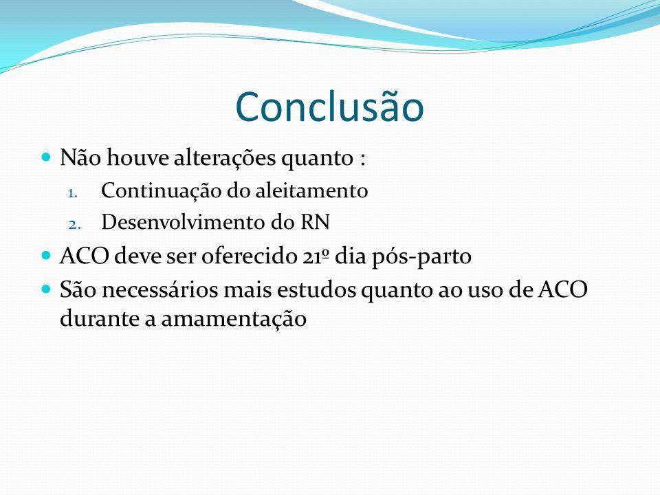 Conclusão Não houve alterações quanto : 1. Continuação do aleitamento 2. Desenvolvimento do RN ACO deve ser oferecido 21º dia pós-parto São necessário