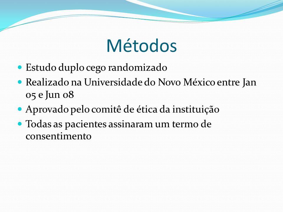 Métodos Estudo duplo cego randomizado Realizado na Universidade do Novo México entre Jan 05 e Jun 08 Aprovado pelo comitê de ética da instituição Toda