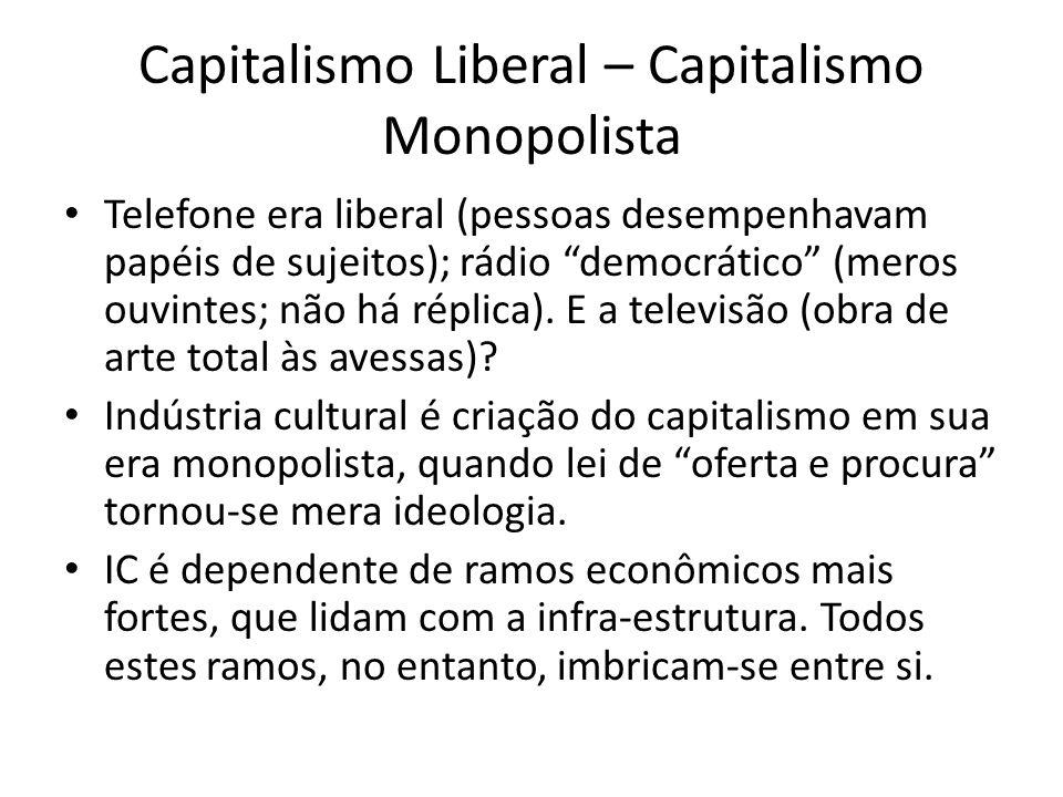 Capitalismo Liberal – Capitalismo Monopolista Telefone era liberal (pessoas desempenhavam papéis de sujeitos); rádio democrático (meros ouvintes; não