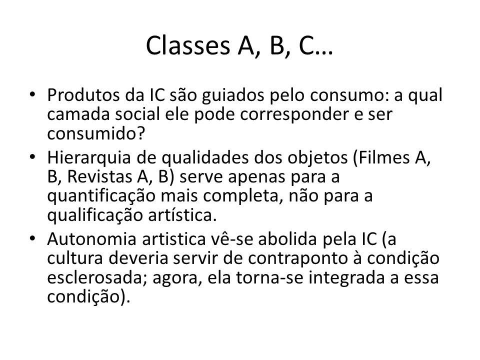 Classes A, B, C… Produtos da IC são guiados pelo consumo: a qual camada social ele pode corresponder e ser consumido? Hierarquia de qualidades dos obj