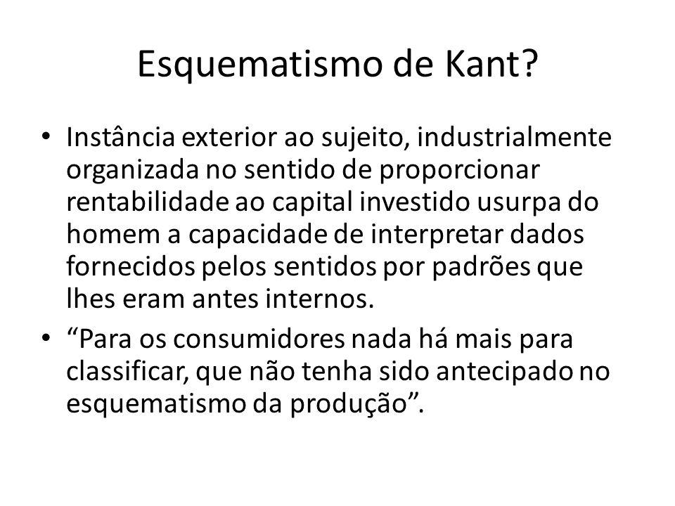 Esquematismo de Kant? Instância exterior ao sujeito, industrialmente organizada no sentido de proporcionar rentabilidade ao capital investido usurpa d