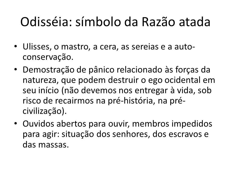 Odisséia: símbolo da Razão atada Ulisses, o mastro, a cera, as sereias e a auto- conservação. Demostração de pânico relacionado às forças da natureza,