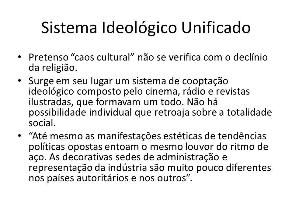 Sistema Ideológico Unificado Pretenso caos cultural não se verifica com o declínio da religião. Surge em seu lugar um sistema de cooptação ideológico