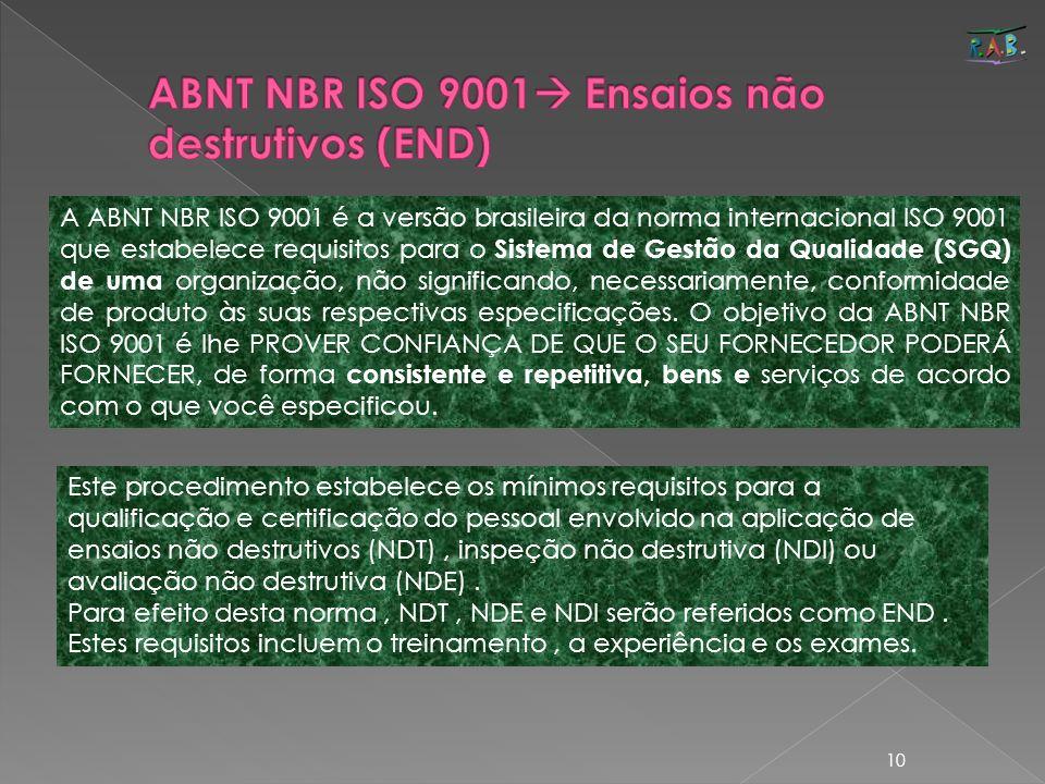 10 A ABNT NBR ISO 9001 é a versão brasileira da norma internacional ISO 9001 que estabelece requisitos para o Sistema de Gestão da Qualidade (SGQ) de