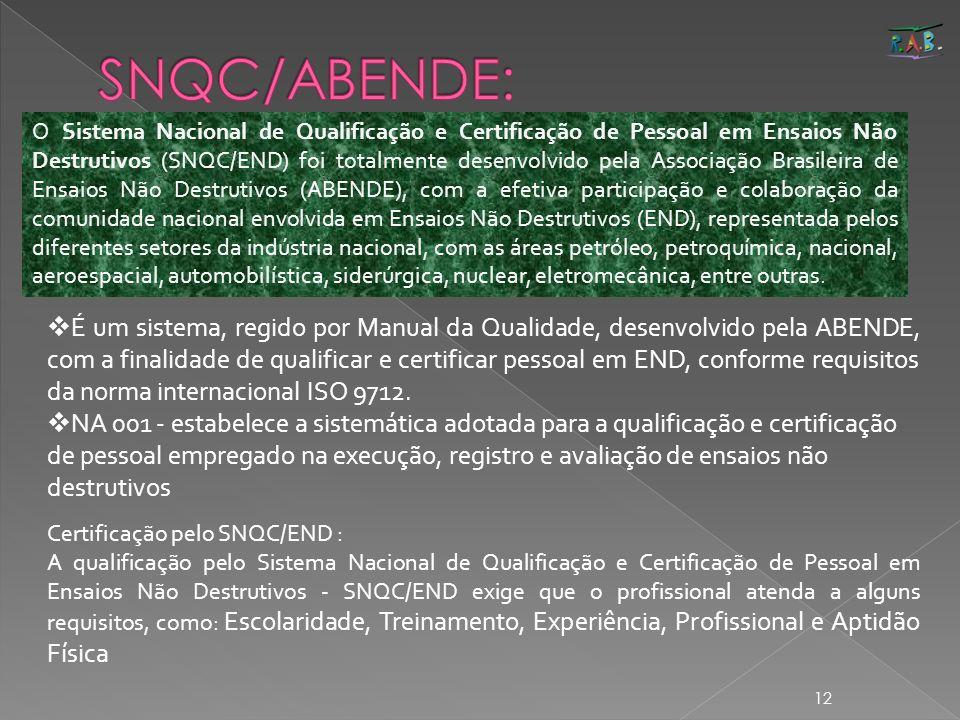 12 Certificação pelo SNQC/END : A qualificação pelo Sistema Nacional de Qualificação e Certificação de Pessoal em Ensaios Não Destrutivos - SNQC/END e